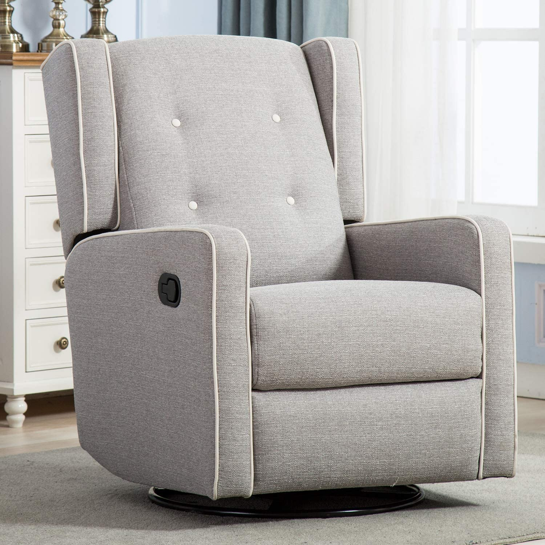 Amazon.com: Swivel Rocker Recliner Chair, Nursery Glider Chair, Nursery Rocking Chairs, Manual Reclining Chair, Grey: Kitchen & Dining