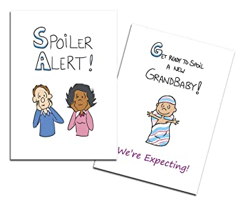 Amazon Com Dad S Castle Pregnancy Announcement Grandparents Card Spoiler Alert Ethnic People Of Color Mixed Couple Baby