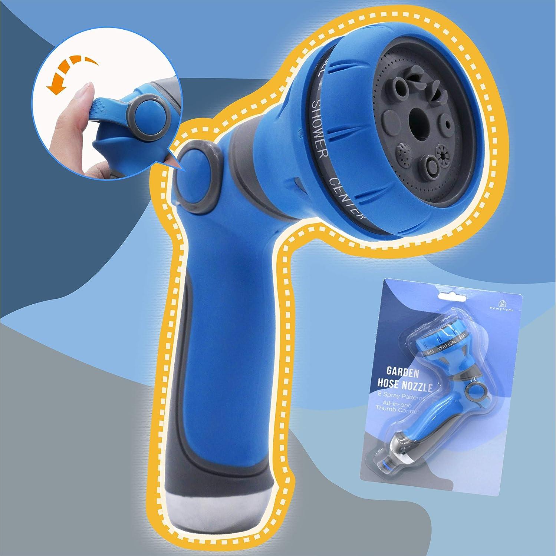 homyhomi Garden Hose Spray Nozzle, Heavy Duty Metal Spray Nozzle High Pressure, 8 Patterns Thumb Control for Watering, Car & Pet Washing