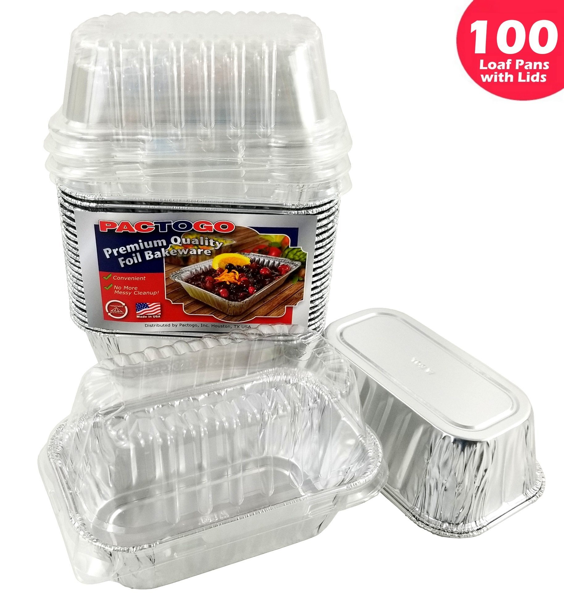 Pactogo Disposable 1 lb. Aluminum Foil Mini Loaf Pans with Clear Dome Lids (Pack of 100 Sets)