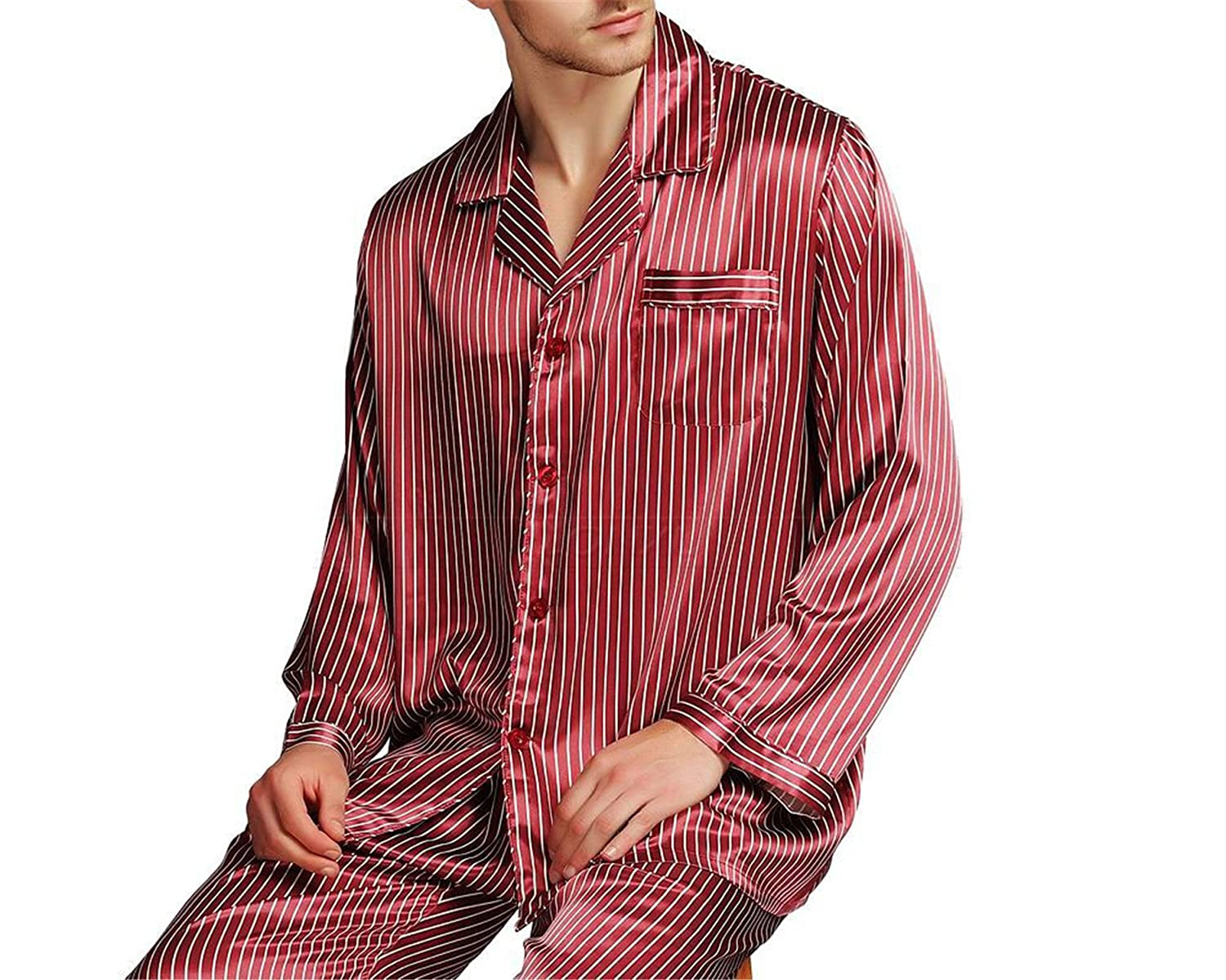 Orcan Bluce Mens Silk Satin Pajamas Set Sleepwear Set Loungewear Plus Striped