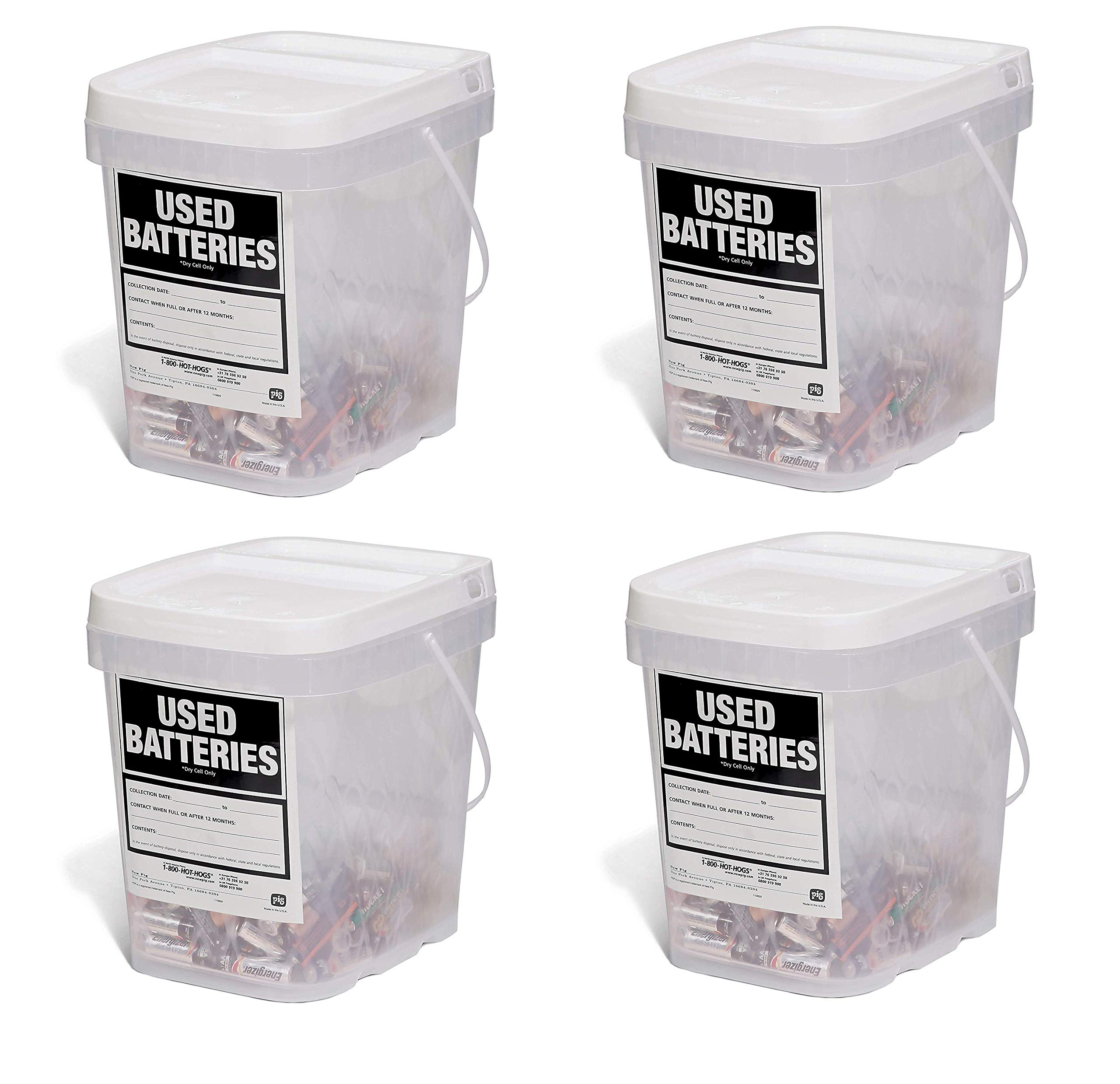New Pig Used Battery Container, Clear/White (Pack of 4)