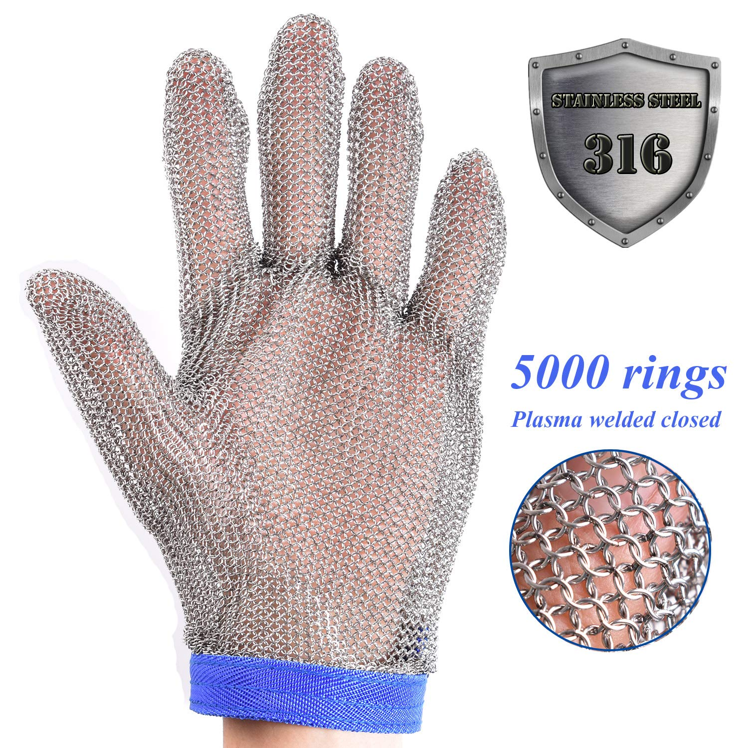 Stainless Steel Mesh Cut-resistant Glove - Chain Mail Glove for Hand Protective, Safety Glove for Home Kitchen, Butcher, Oyster, Garment. Fish Worker (Large) by HANDSAFETY (Image #2)