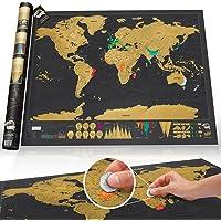 Çizilmeye karşı Off dünya haritası poster, seyahat, Deluxe Edition–81,3X 61cm–Kişiselleştirilmiş ve detaylı Country Tracker–Kartographischen–Seyahat edenler için mükemmel hediye, çocuklar için Explorer'ı ve Lehrreich