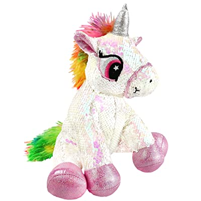 Athoinsu Flip Sequin Stuffed Animal Unicorn Plush Toys with Reversible Glitter Sequins Sparkle Birthday for Kids Toddlers, White, 11'': Home & Kitchen