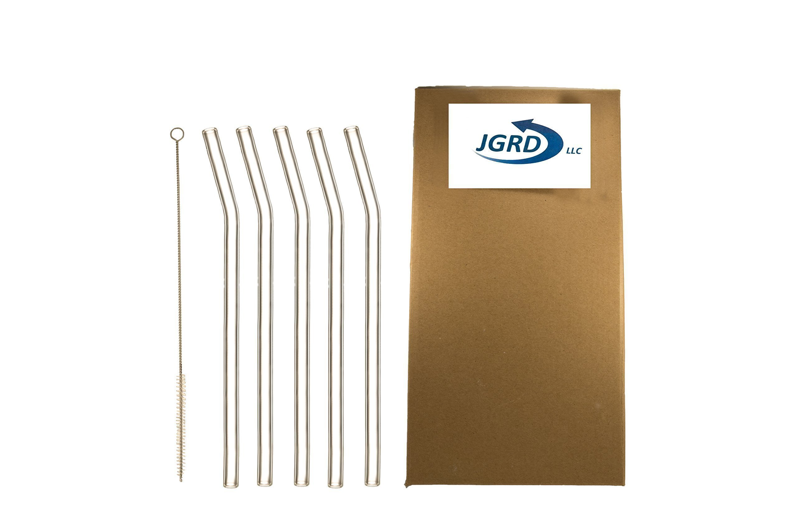 Drinking Straws Glass by JGRD, Reusable Durable Premium, Bent with Cleaning Brush, 9'' X 10mm, 5 Pack, Great Durable Reusable Straw, Perfect For Smoothies, Tea, Juice, Water, Essential Oils,