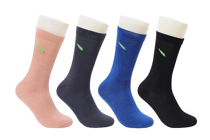 6e5f220138409 Zulle Men's 4 Pack Bamboo Crew Dress Socks-Moisture Wicking,Deodorant,Ultra  Soft