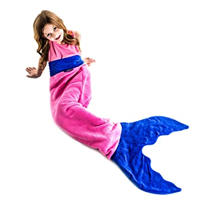 Mermaid Blanket for Kids - Fun, Playful Design Lets Kids Climb Inside - Double-Sided Soft Fleece Tail - The Original Mermaid Blanket in Colors Pink and Periwinkle: Home & Kitchen