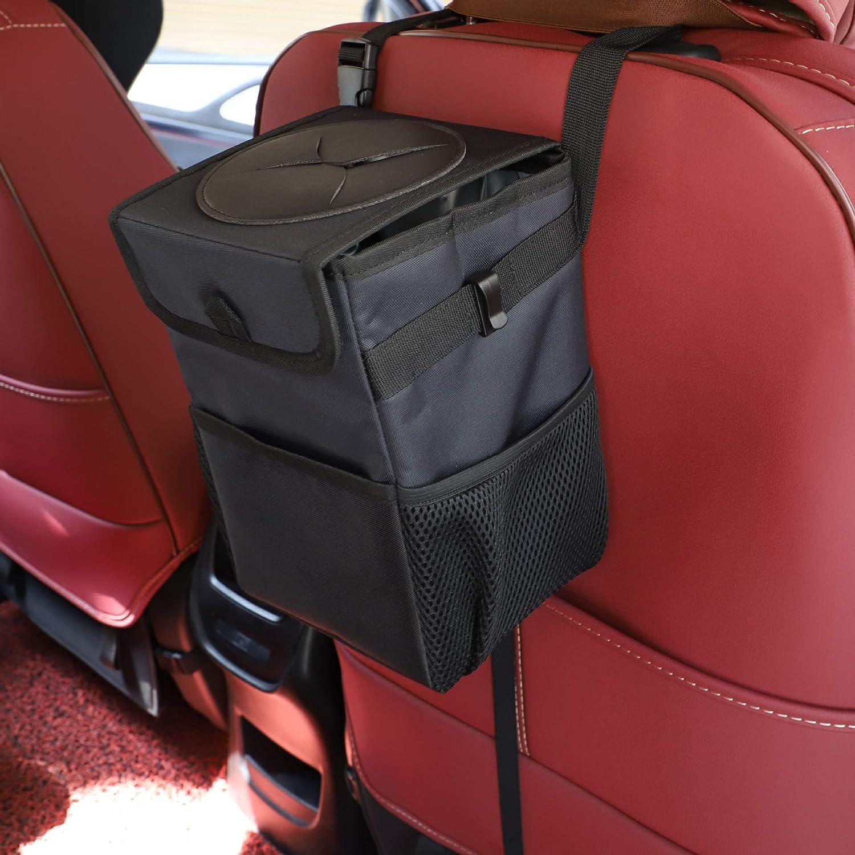 MIILAI Auto M/ülleimer mit Deckel IP68 Wasserdicht Auslaufsicher Abfalltasche Auto Faltbar Organizer Zusammenfaltbare Organizer Abfall-Tasche f/ür Unterwegs