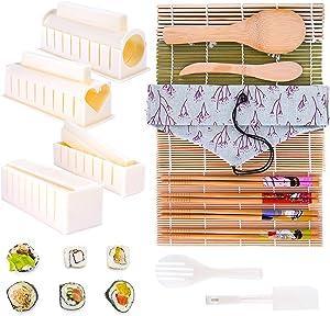 HOMENOTE Sushi Making Kit, Bamboo Sushi Mat, Sushi Mold, 19-in-1 Sushi Kit, Including Sushi Rolling Mat, Sushi Maker Molds, Bamboo Chopsticks, Rice Paddle, Rice Spreader, Beginner Sushi Making Kit
