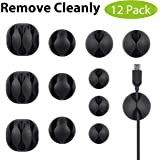 Avantree 12 Pack Long Lasting Cable Clips, Desktop Cord Holder & Hider, Charging Cable Drop Organizer & Management System for TV PC Laptop Home Office
