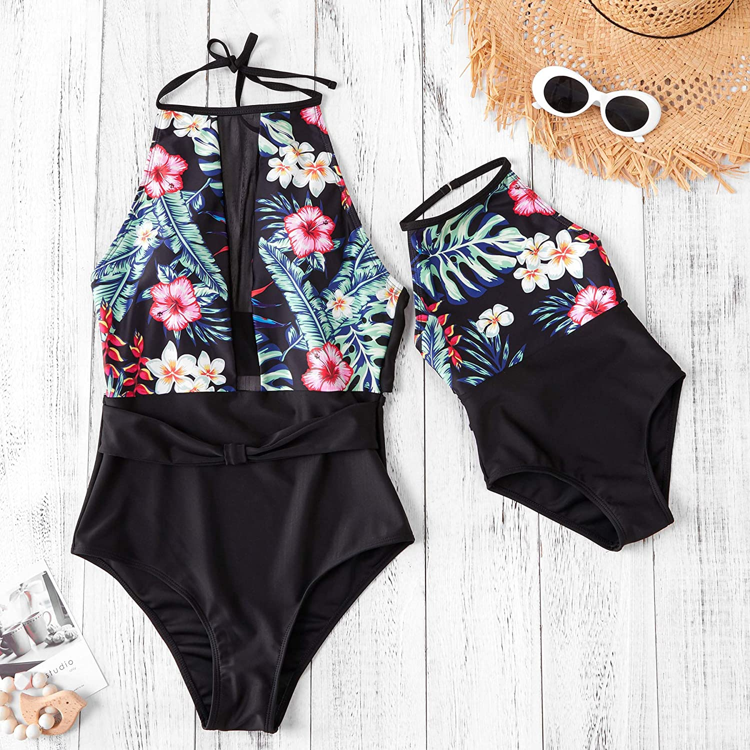 Yaffi Mommy and Me Matching Swimwear One Piece 2019 Newest Bathing Suit Off Shoulder Floral Printed Monokini