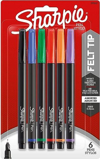 NEW Fine Point Assorted Colors Sharpie 1976527 Pen 6-Count