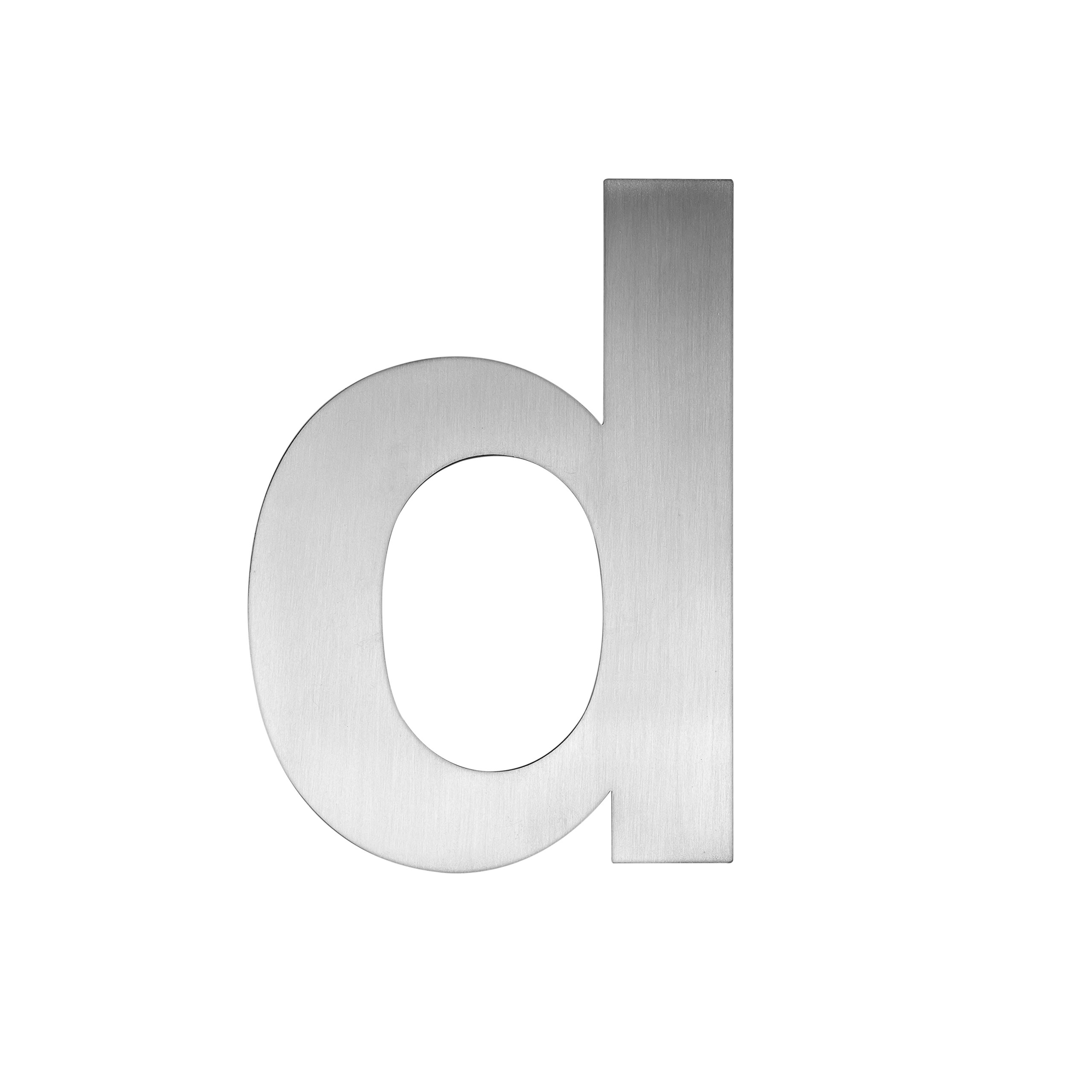 QT Modern House Number - SMALL 4 Inch - Brushed Stainless Steel (Letter d), Floating Appearance, Easy to install and made of solid 304