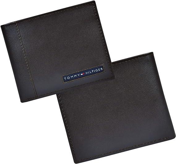 Tommy Hilfiger Cambridge Passcase cartera con tarjetero extraíble de cuero - Marrón - talla única: Amazon.es: Ropa y accesorios
