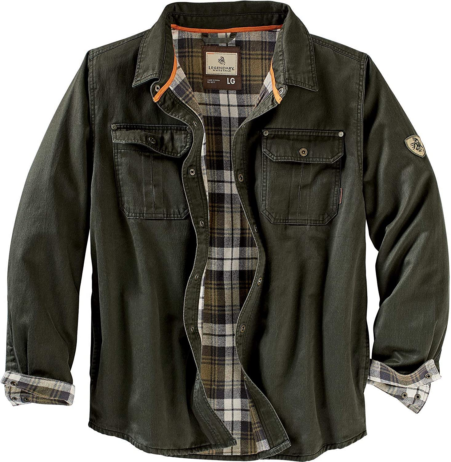 Legendary Whitetails Men's Journeyman Flannel Lined Rugged Shirt Jacket: Clothing