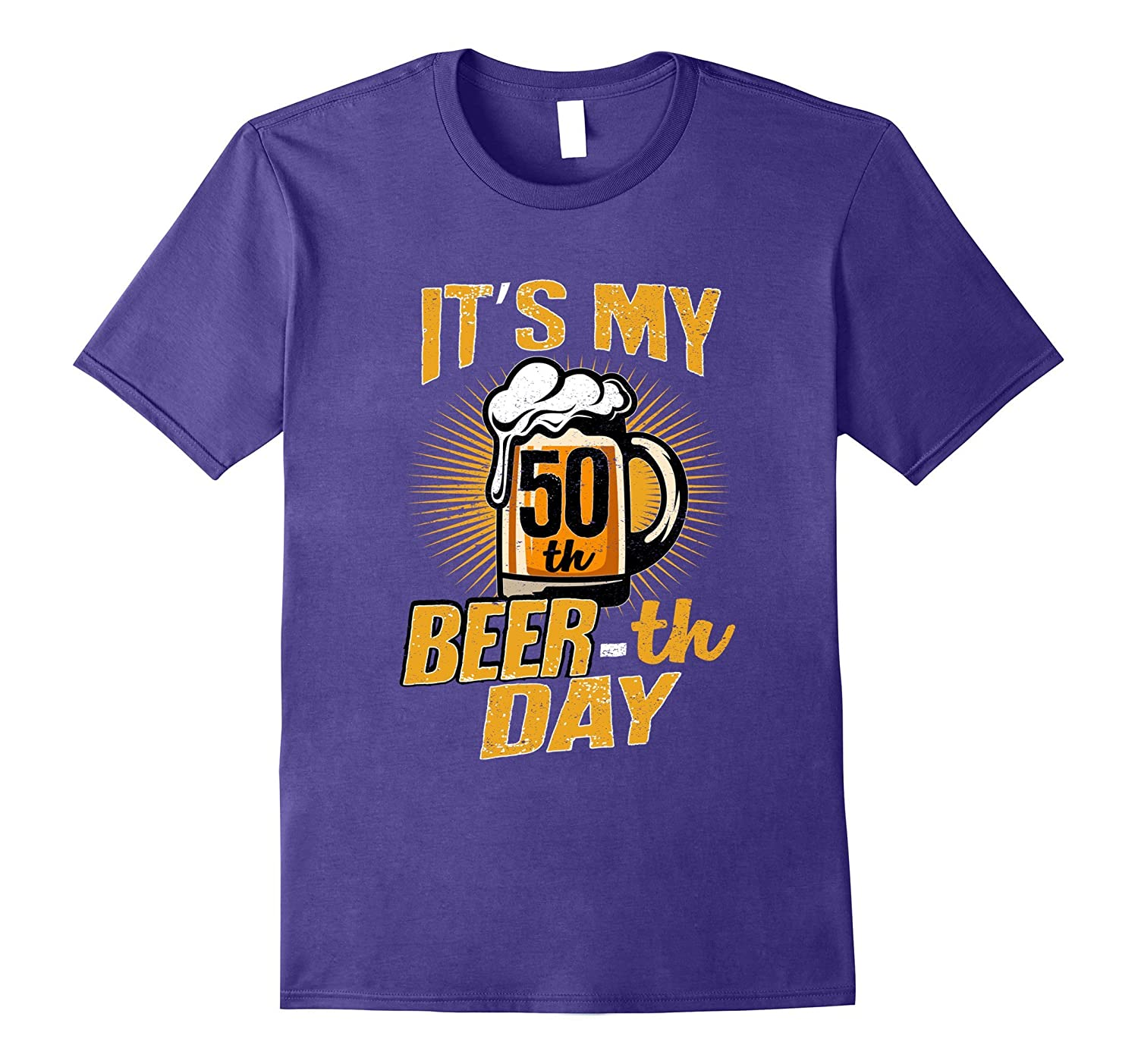50th Beer-th Day Funny Birthday Beer Pun T-Shirt Vintage