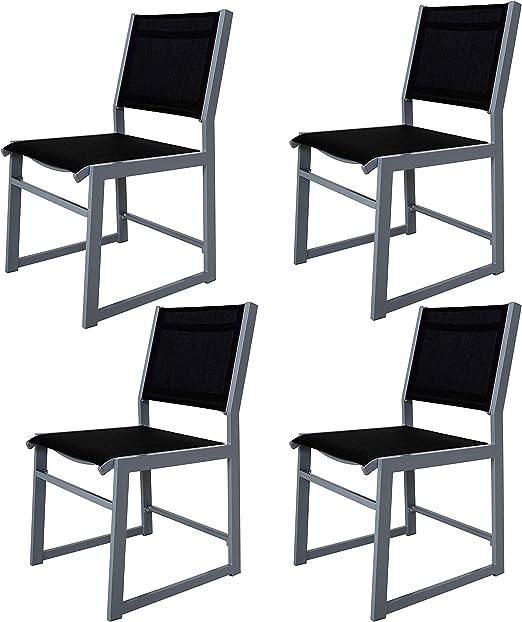 Chicreat - Juego de 4 sillones de aluminio tapizados para jardín (negro y plateado): Amazon.es: Jardín