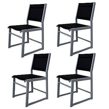 Chicreat sillón de jardín, plateado / negro Juego de 4 sillas de aluminio para balcón con funda textil