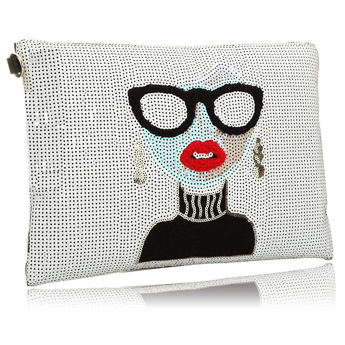 Oversized Clutch Bag Purse, Womens Large Designer leather Evening Wristlet Handbag for Ladies
