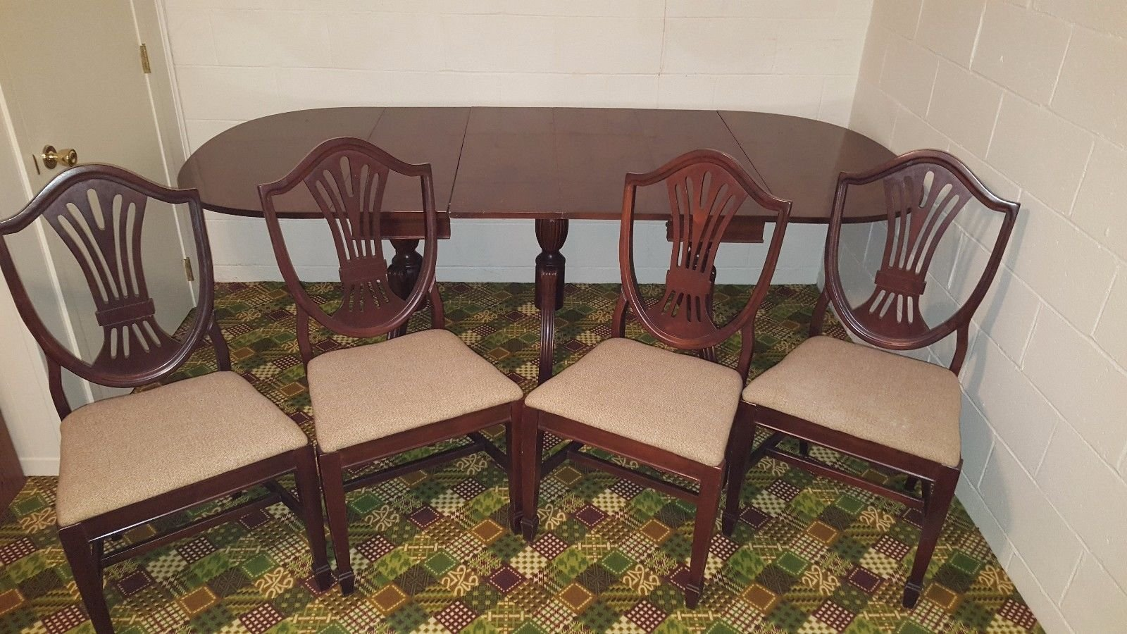 Vintage Claw Foot Drop Leaf Dining Table w 4 Leaves & 4 Lenoir Chairs NICE