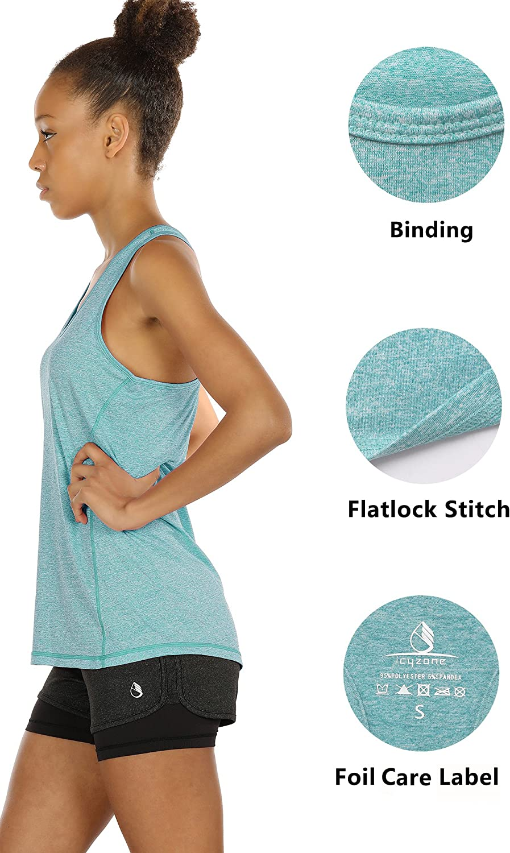 icyzone Camiseta de Fitness Deportiva de Tirantes para Mujer Pack de 3