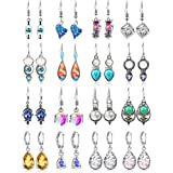 16 Pairs Crystal Drop Dangle Earrings Multicolor Crystal Dangle Hook Earrings Teardrop Pendant Hoop Earrings for Women Jewelr