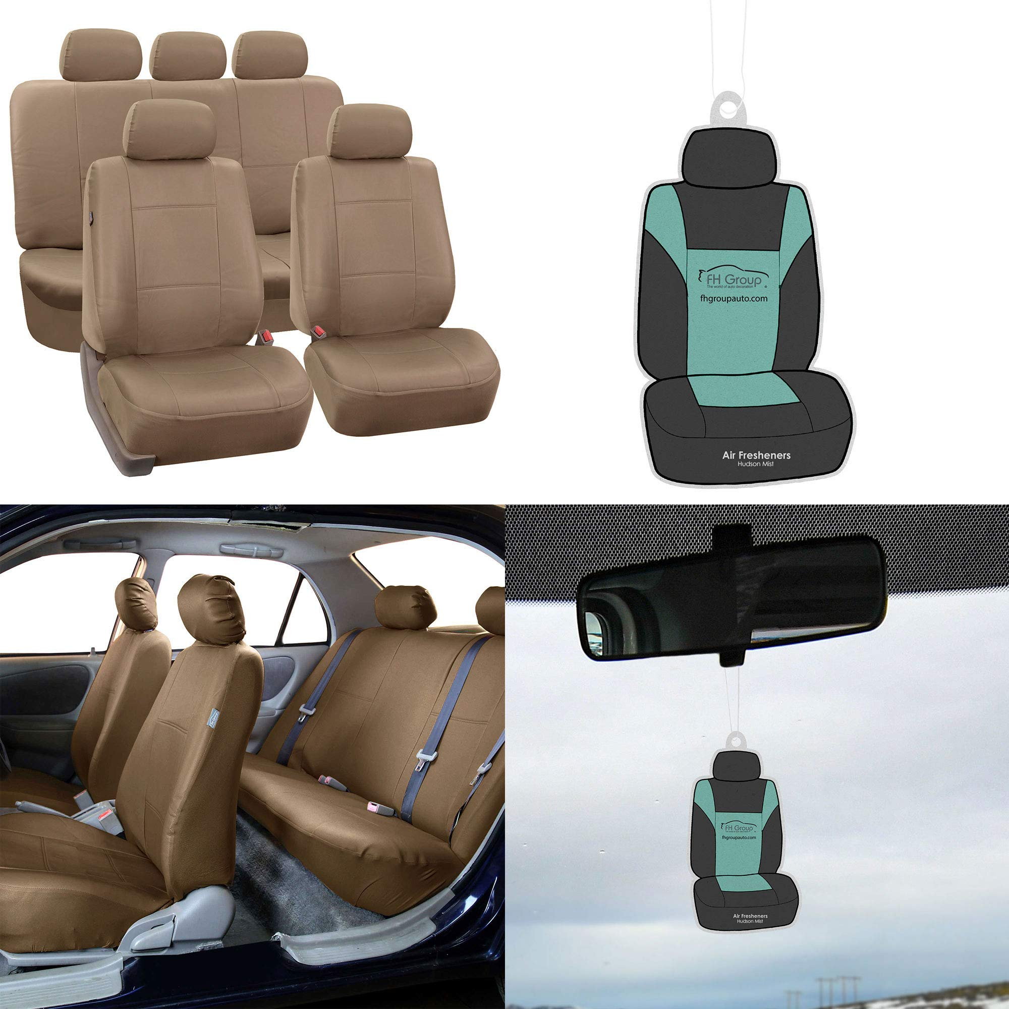 FH Group PU002115 Classic PU Leather Car Seat Covers Solid Beige, Airbag Compatible and Split Bench w. Free Air Freshener - Fit Most Car, Truck, SUV, or Van
