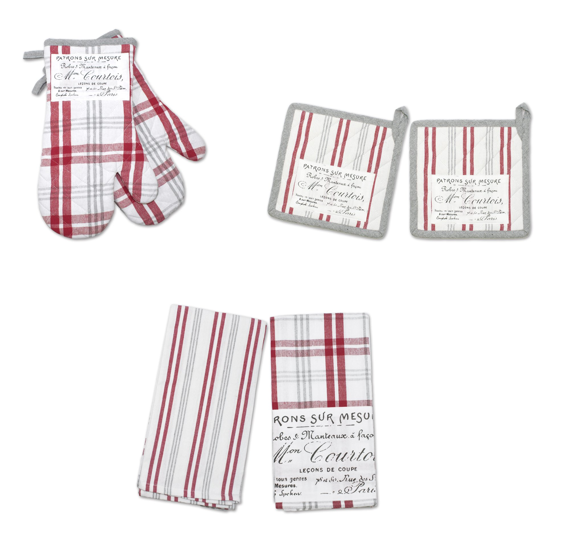 HOTEL Plaid'N Patch 6 Pc Kitchen Set-PR O/M P/H 2PK Twl 6 Piece, Red, 6