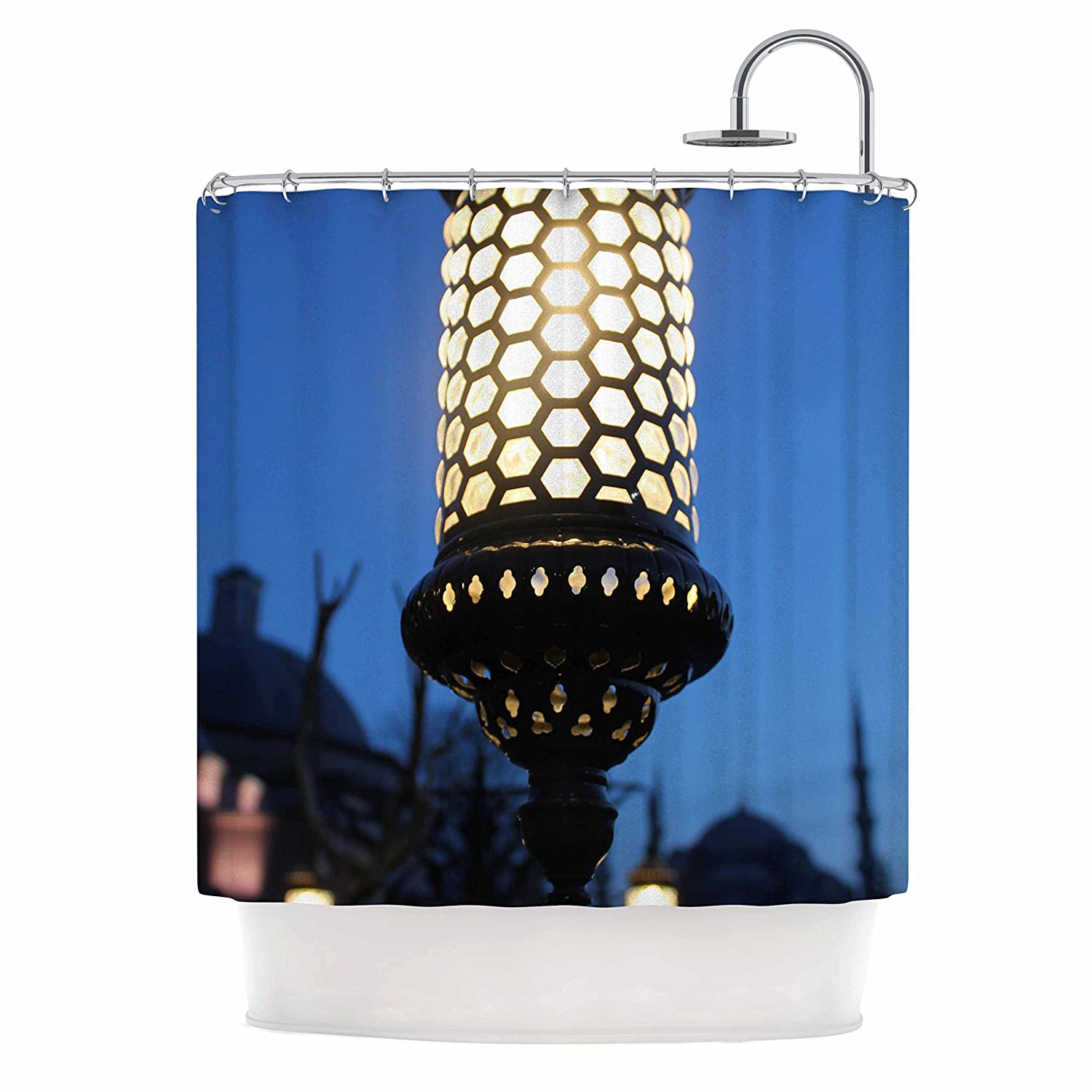 Kess InHouse Theresa Giolzetti The Light of The Roman Empire Black Gold Shower Curtain, 69 by 70'