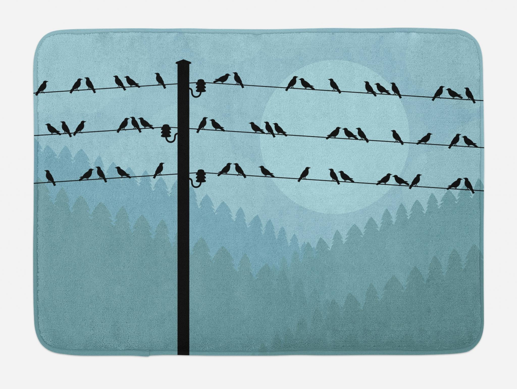Lunarable Birds on a Wire Bath Mat, Autumn Fall Countryside Landscape with Hills Full of Trees Forest Woodland, Plush Bathroom Decor Mat with Non Slip Backing, 29.5 W X 17.5 W Inches, Multicolor