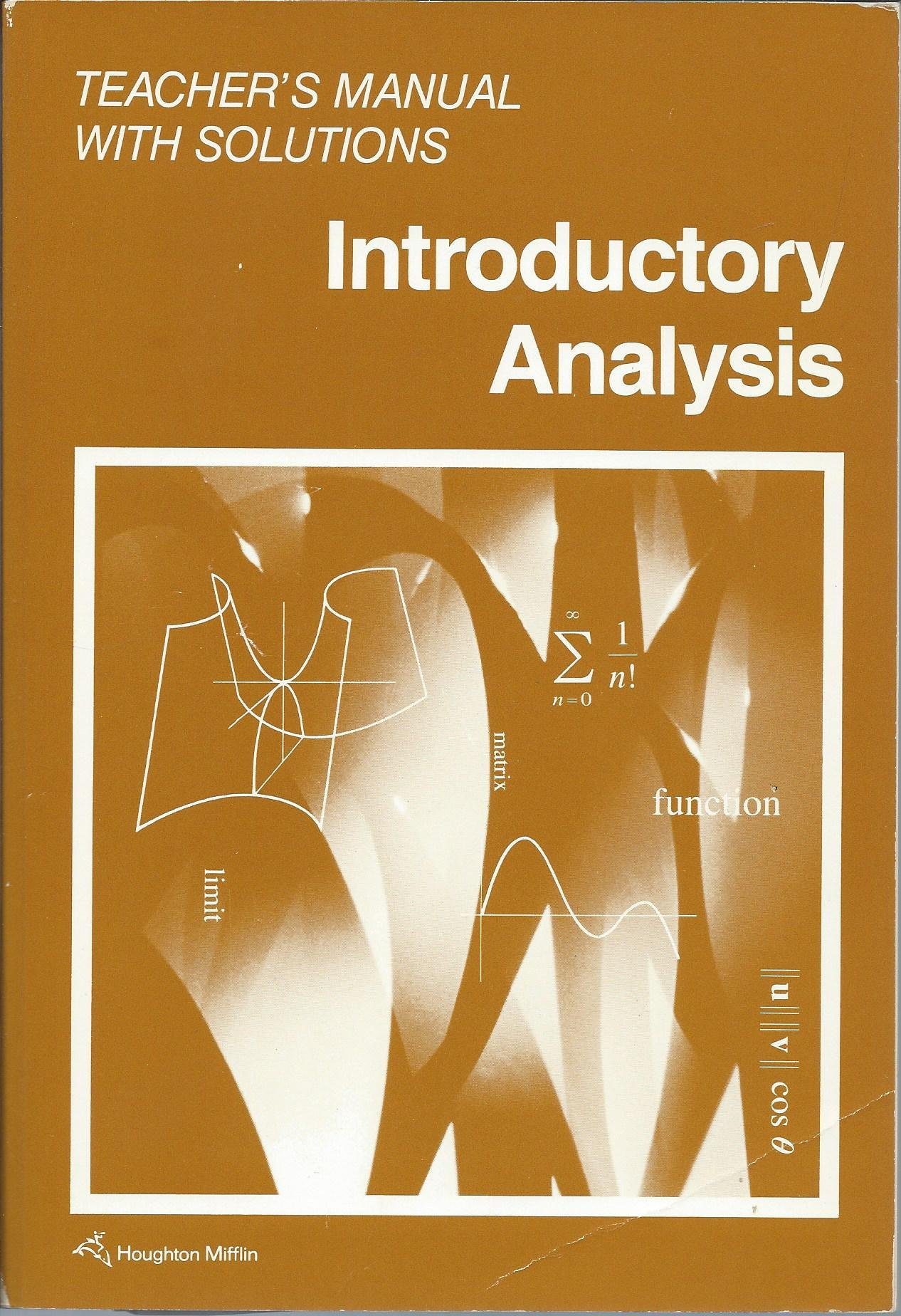 Introductory Analysis (Teacher's Manual with Solutions): Graham, Myers  Dolciani Sorgenfrey: 9780395526170: Amazon.com: Books