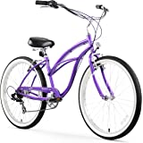 Firmstrong Urban Lady Seven Speed Beach Cruiser Bicycle, 26-Inch, Purple