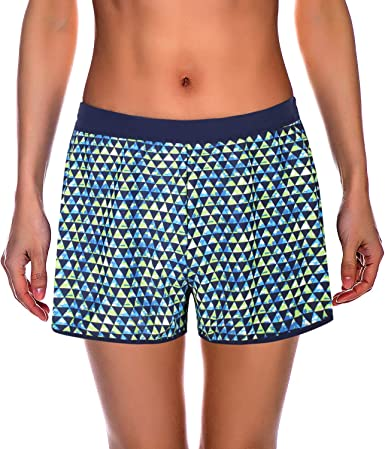 Regular and Plus Size Wonderfullly Printed Swim Surf Board Shorts For Women With Pockets