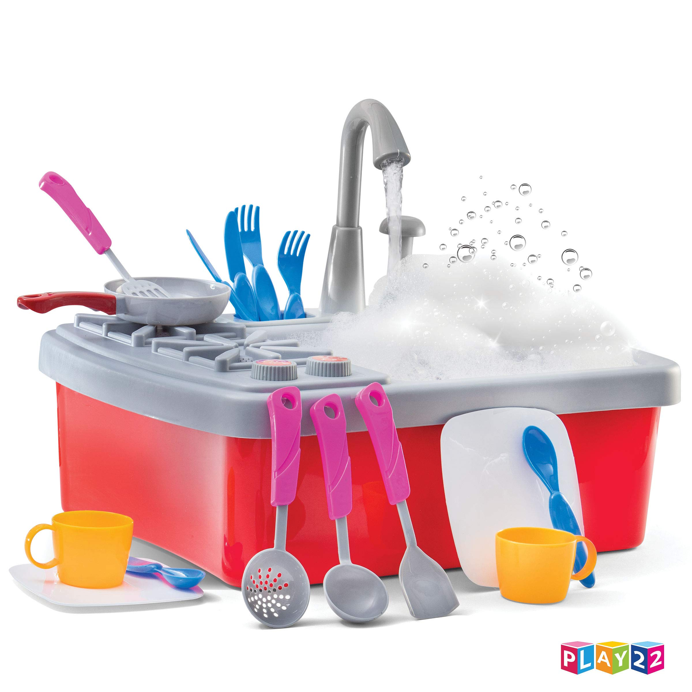 Play22 Kitchen Sink Toy 17 Set - Play Sink Play House Pretend Toy Kitchen Sink with Running Water - Kids Toy Sink with Real Faucet & Drain, Dishes, Utensils & Stove - Kitchen Toys for Toddlers & Kids by Play22