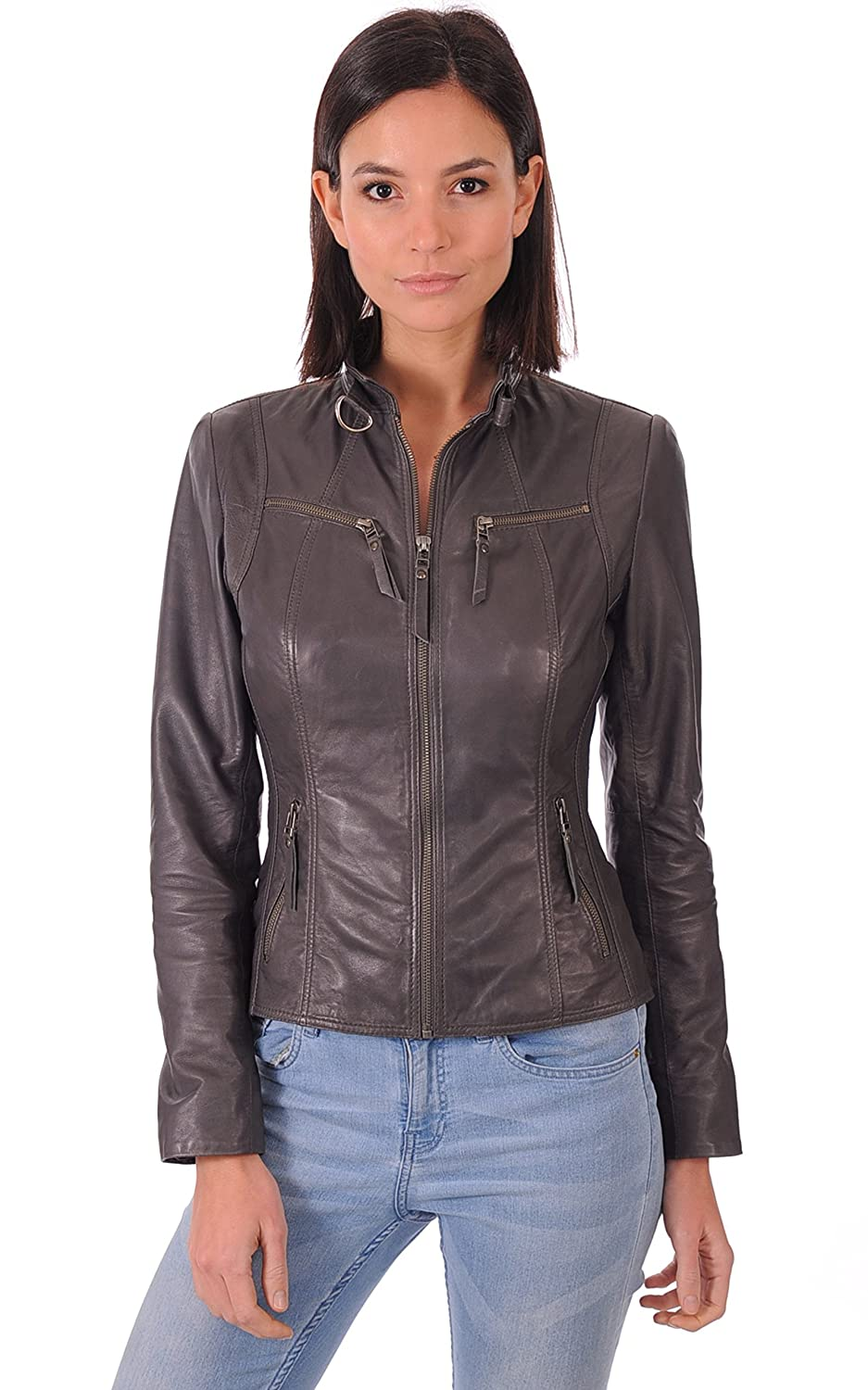 Leather Gallery Womens Genuine Lambskin Bomber Motorcycle Leather Jacket LG_753