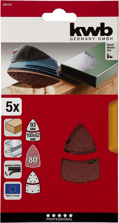 PRIO KWB 4961-08 QuICK-STICK Triangle de pon/çage auto-adh/ésif pour meuleuse triangulaire Bosch PSM 160 A VENTARO Skil Octo 7208