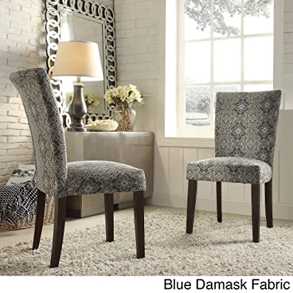 Catherine Print Parsons Dining Side Chair Blue Damask Fabric (Set Of 2)