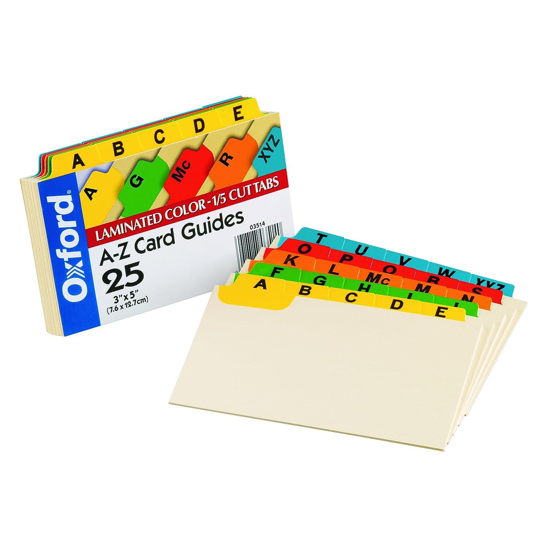 3 x 5 25//Set 1//5 Tab Alpha Laminated Index Card Guides Manila