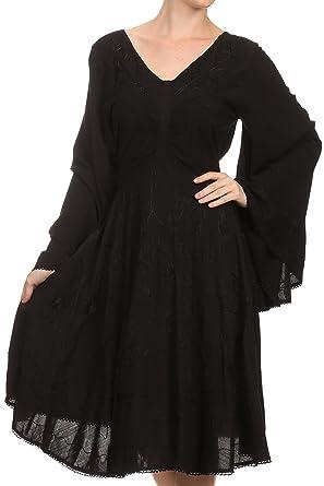 151ba6cd94 Sakkas 15232 - Addyson Drop Neck Long Sleeve Embroidered Boho Dress - Black  - S/