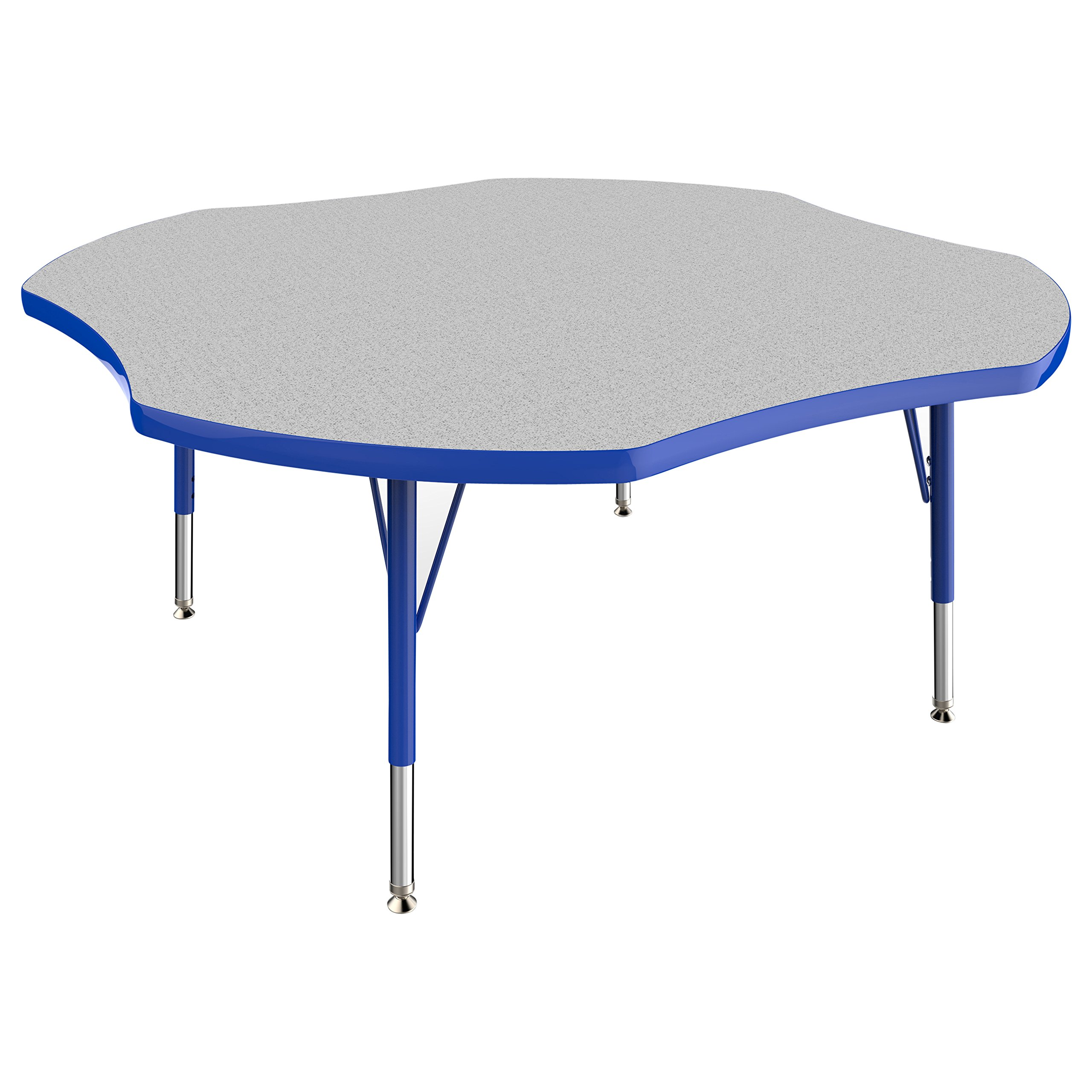 ECR4Kids Thermo-fused 48'' Clover School Activity Table, Toddler Legs w/ Swivel Glides, Adjustable Height 15-23 inch (Grey/Blue)