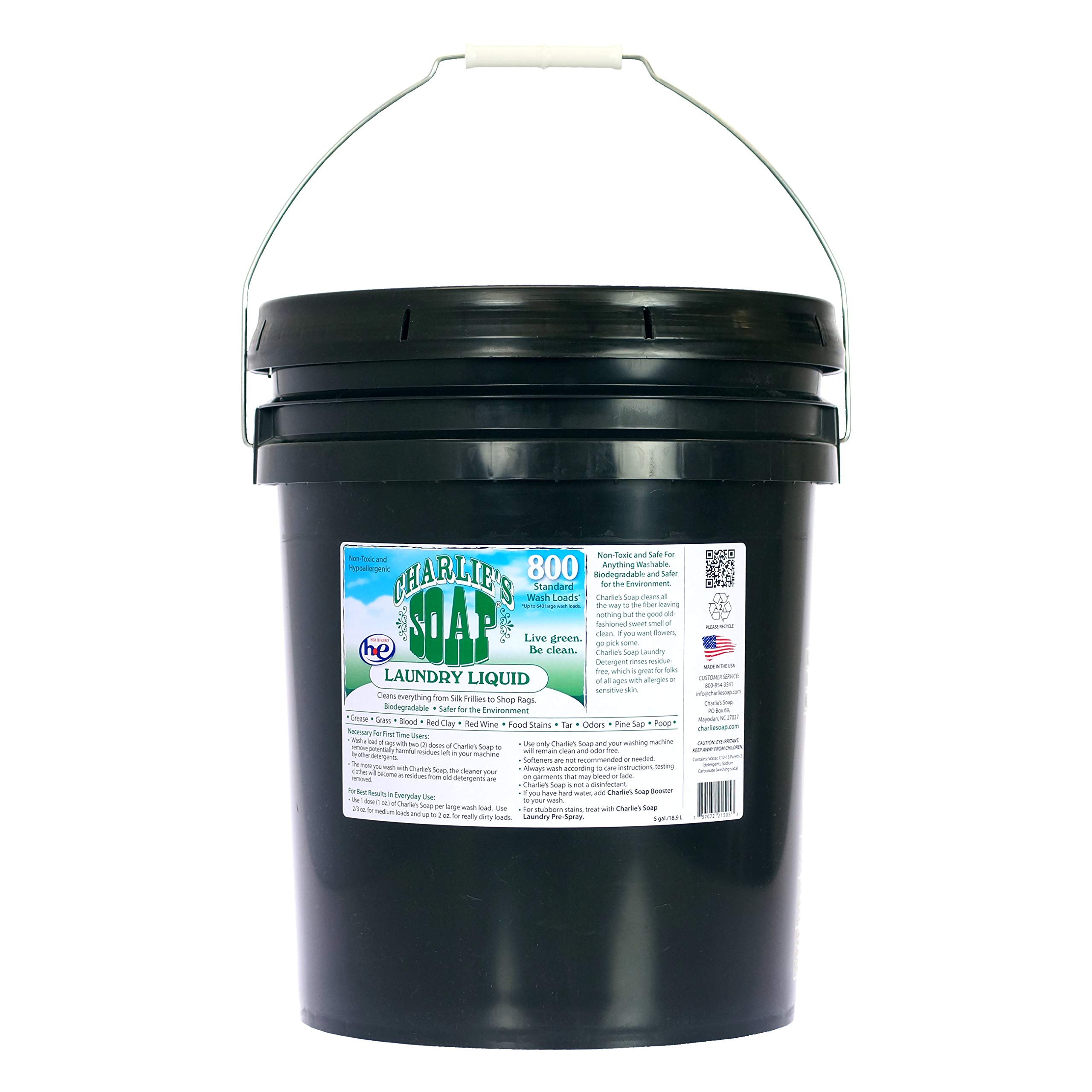 Charlie's Soap – Fragrance-Free Laundry Liquid detergent – 800 Loads (5 Gallon Bucket)
