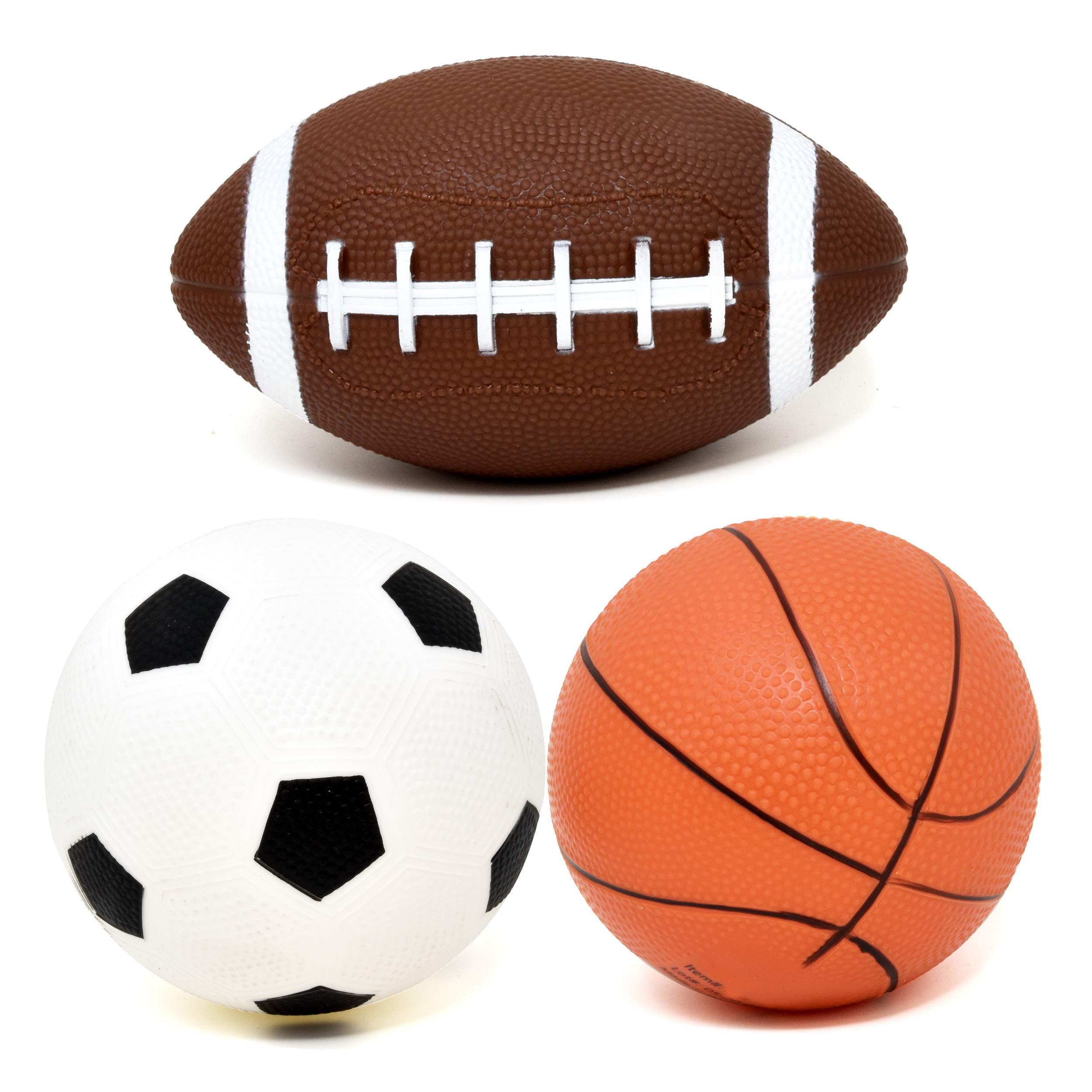 Number 1 in Gadgets Set of 3 Sports Balls for Kids, Mini Sport Pack Includes Football, Soccer & Basketball for Soft Indoor & Outdoor Play Great for Toddlers & Little Hands by Number 1 in Gadgets