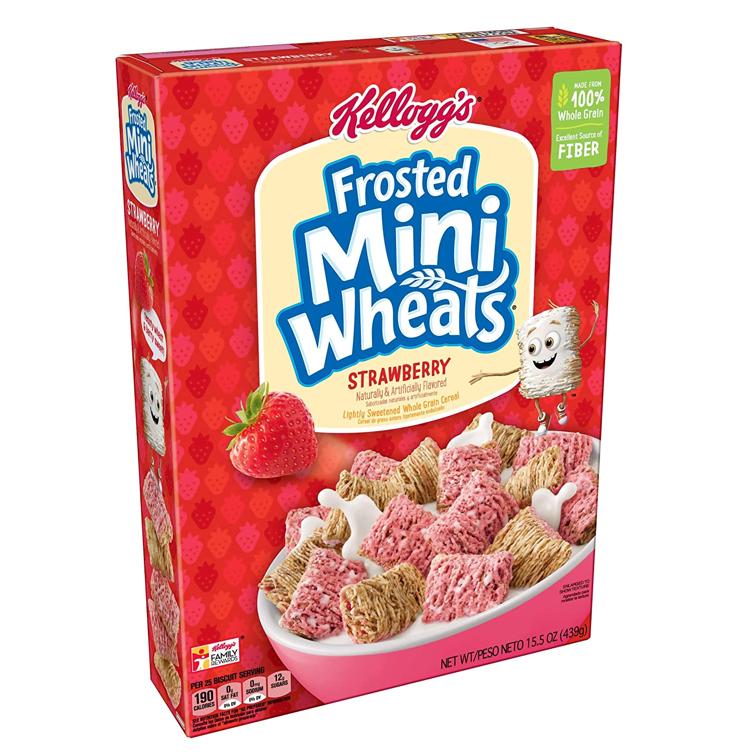Amazon.com: Kelloggs Breakfast Cereal, Frosted Mini-Wheats, Strawberry, Low Fat, Excellent Source of Fiber, 15.5 oz Box: Prime Pantry