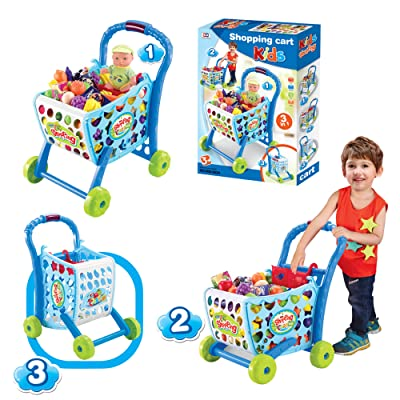 EGT Boys Or Girls Kids Shopping Cart Trolley (Blue): Toys & Games