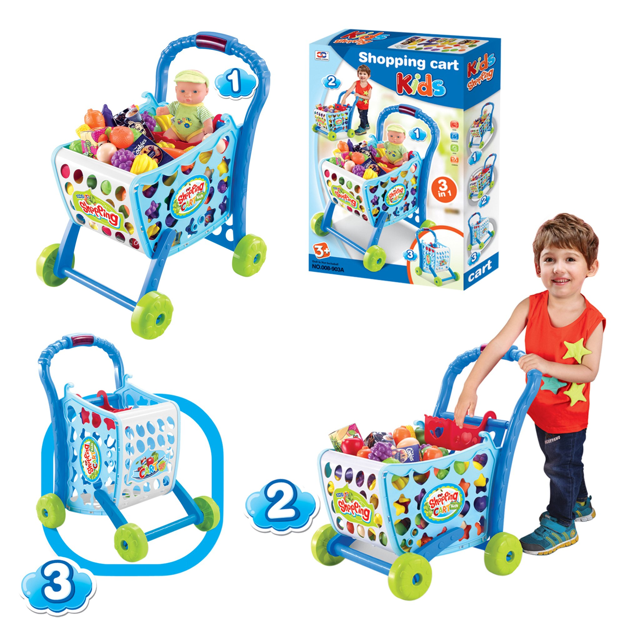 EGT Boys Or Girls Kids Shopping Cart Trolley (Blue) by EGT