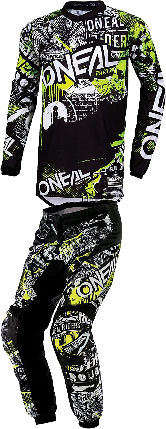 ONeal Mens Element Attack Motocross Jersey /& Pants Combo Black//Neon