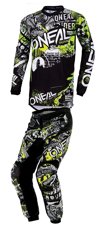 ONeal Youth Boys Element Attack Motocross Jersey /& Pants Combo Black//Hi-Viz