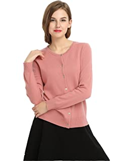 e501b7a067d171 MIUK 2017 New Women's 100% Cashmere Cardigan Basic Slim Crewneck Sweater