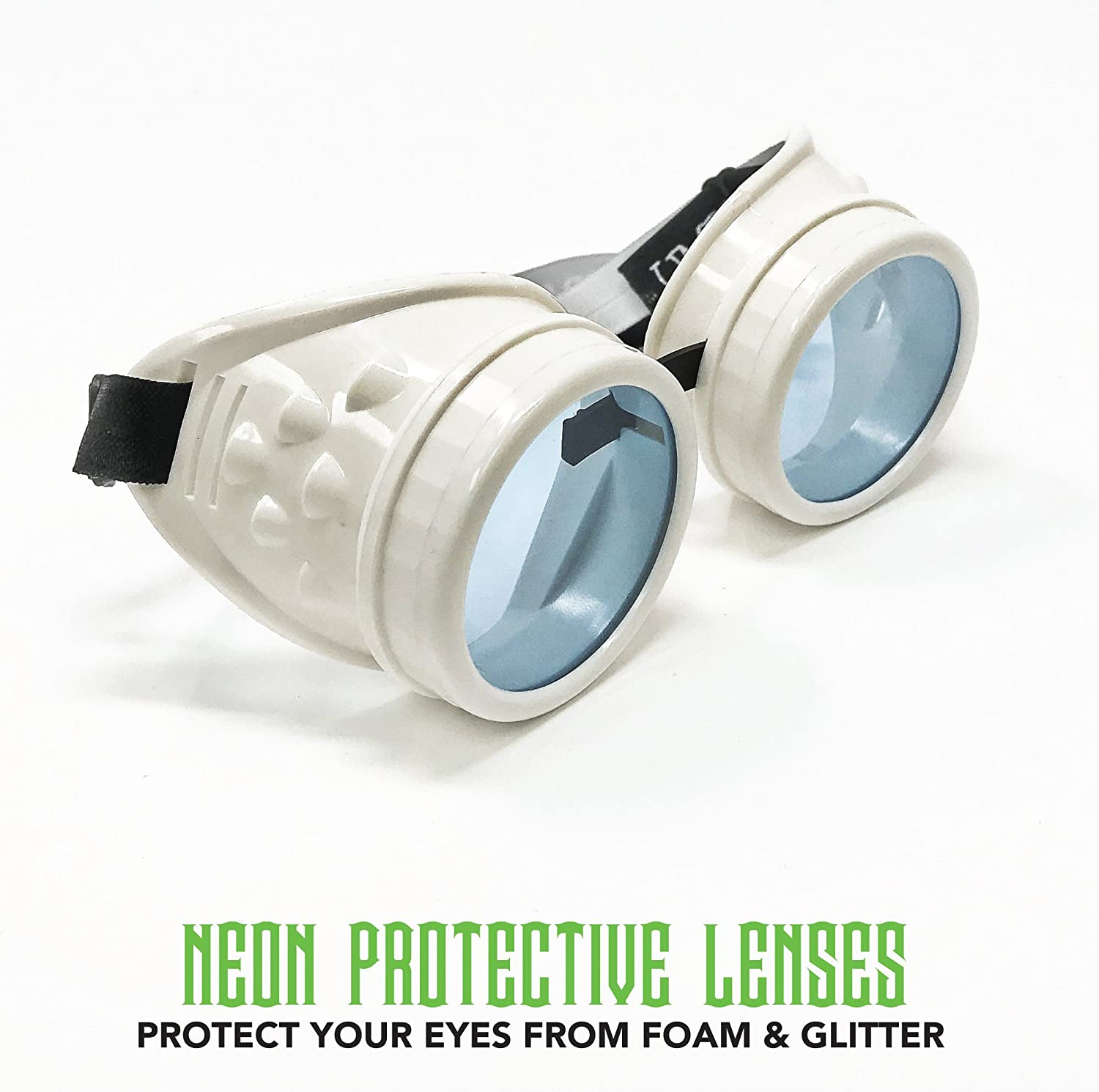 UV Glow in The Dark Steampunk Rave Goggles Meme Glasses Willy Wonka Costume